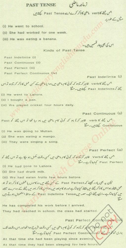 Past Tense in Urdu