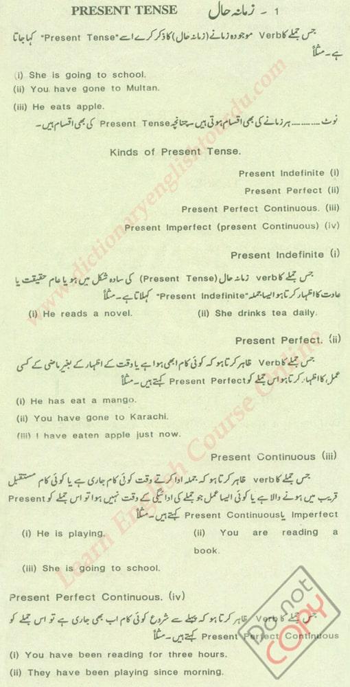 Present Tense in Urdu